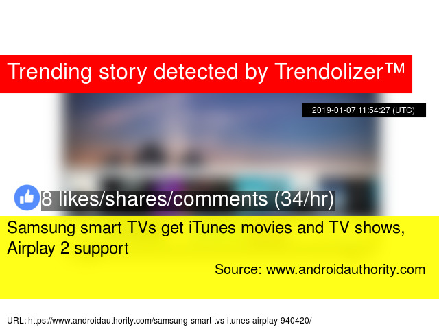 Samsung smart TVs get iTunes movies and TV shows, Airplay 2 support