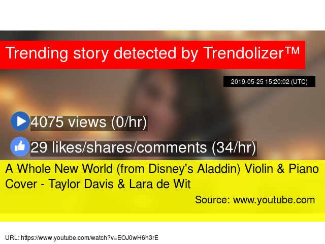 A Whole New World (from Disney's Aladdin) Violin & Piano Cover