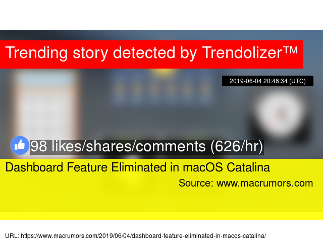 Dashboard Feature Eliminated in macOS Catalina