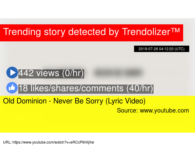 Old Dominion - Never Be Sorry (Lyric Video)