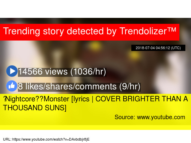 ◤Nightcore◢ ↬ Monster [lyrics | COVER BRIGHTER THAN A