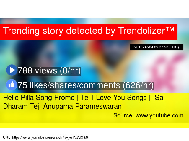 Hello Pilla Song Promo Tej I Love You Songs Sai Dharam